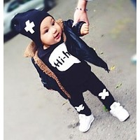 2017 new baby girl clothes baby clothing unisex cotton long-sleeved T-shirt + pants 2/pcs Infant  baby boy clothing set