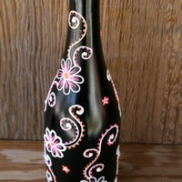 Hand Painted Wine bottle Vase, Up Cycled, Black with White,Pink, and Orange Flowers, Henna Style Flowers