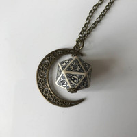 D20 steampunk dice pendant steam punk necklace steampunk jewelry dnd rpg geek dungeons and dragons game gamer geeky polyhedral toothed bar