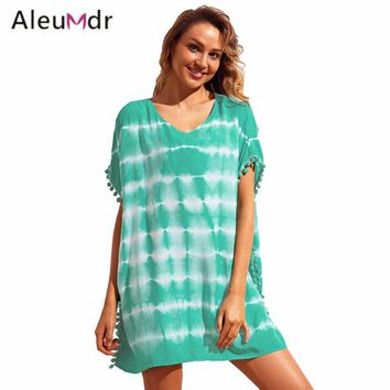 Aleumdr Women Cover Ups Swimwear Summer Trim Tie Dye Print Beach Cover Up Dresses Beachwear Dress LC42274 Robe De Plage