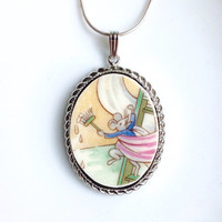Broken China Jewelry, Royal Doulton, Bunnykins Mouse Necklace, Oval Pendant,