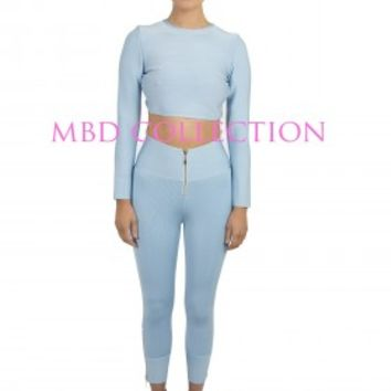 """GEORGINA"" 3/4 length trousers Blue - BANDAGE TWIN SETS - SHOP NOW"