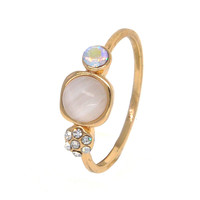 Dear Deer Yellow Gold Plated CZ Moonstone Crystal 3 Stone Band Ring