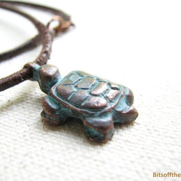 Turtle Necklace - Copper Patina Turtle Pendant, Distressed Leather Necklace, Rustic Vintage-Look Turtle Jewelry Boho Unisex Mens Necklace