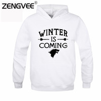 Game of Thrones Men Hoodies And Sweatshirts Direwolf Winter Is Coming O-neck Casual Hooded Free Shipping