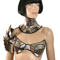 customized , rave bra, cybergoth bra, lady gaga, futuristic clothing, burning man, fantasy, burlesque, pin up divamp couture