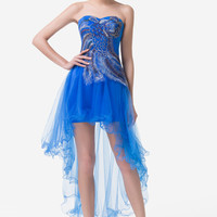 Strapless Sequined Peacock High Low  Cocktail Dress