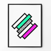 Neon ZigZag Wall Art, Geometric Print, Black and White, Colorful, Pink, Green, wall decor, inspirational, abstract art, lined