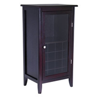 Espresso Wine Cabinet with Glass Door