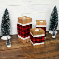 Plaid Cedar Votive Holders - Vintage Christmas - Rustic Christmas - Christmas Decor - Christmas centerpiece - Buffalo Plaid - Rustic Plaid