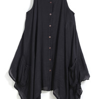 Black Spaghetti Strap Buttons Asymmetrical Dress - Sheinside.com