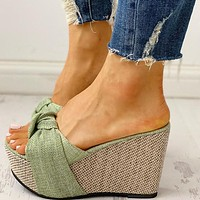 Bow Tied Slip on Leisure Platform Sandals Wedges High Heels Women Shoes Woman Mules Flip Flops