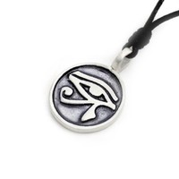 Egyptian Eye of Ra Horus Silver Pewter Charm Necklace Pendant Jewelry