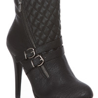 Black Faux Leather Quilted Ankle Booties