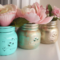Set of Mason Jars, Painted Mason Jars, Distressed Jars, Mason Jar Vases, Mint Green Mason Jars, Green Accents, Gold Mason Jars, Gold Vase