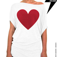 Heart Slouchy Tee - Valentine's Day - White with Red Longer Length Slouchy Tee (Small - Plus Sizes)