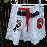 Womens skirt-Drawstring waist-Patch work-Remade fashion by SuElles-Grunge-Tatterd-Skater girl-Festival clothing-Fun appliques-Romantic-Sexy