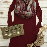Easy Does it Dress: Burgundy