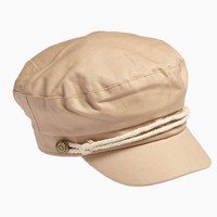 Fisherman Cabbie Cap With Cord - Beige