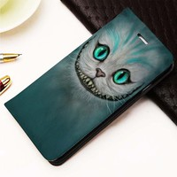Cheshire Cat custom Wallet for iPhone 4, 4S, 5, 5S, 5C, 6, 6 Plus, 7, Samsung Galaxy S3, S4, S5, S6, S7 Case