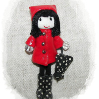 Red Raincoat Doll Handmade Pin Felt  Brooch  Boots Polka Dots  Umbrella  Miniature 3.2 in 8 cm