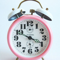 Vintage pink alarm clock with twin bells made in Germany #vintage#pinkclock#girlclock#germanclock