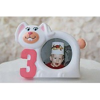 White Bunny Rabbit Picture Frame 3 Year Old Birthday Cute Picture Photo Frame