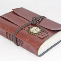 Light Brown Faux Leather Journal with Blank Paper and Cameo Bookmark - Ready To Ship -