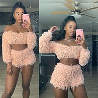 2020 new women's autumn one-shoulder tube top with navel short two-piece suit