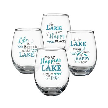 At the Lake - Set of 4 - Stemless Wine Glasses