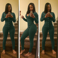 Green V-Neck Button Down Jumpsuit
