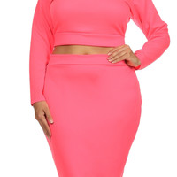 Plus Size Two Piece Pencil Skirt & Top SET in 6 Colors