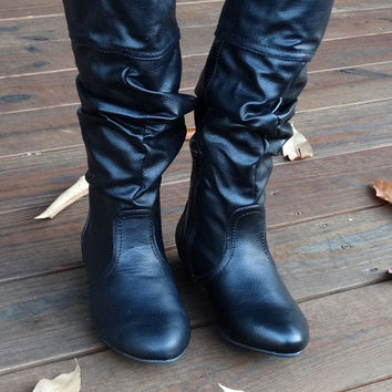 Slouchy Black Boots