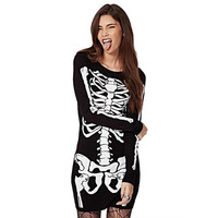 Fashion Women Punk Halloween Bodycon Skeleton Skull Print Dress Slim Party wear
