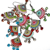 Funky Boho Earrings Painted Colorful Hippie Gypsy Jewelry FREE SHIPPING