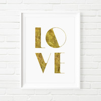 "Fashion Art ""Love"" Faux Gold Print Wall Decor Typography Print Fashion Illustration"