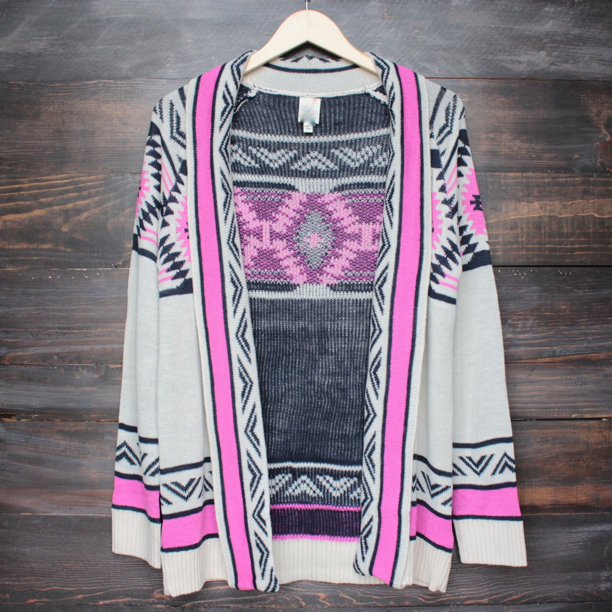 Image of Mod Lightweight Tribal Cardigan in Aztec Pink