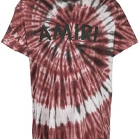 Burgundy Tie-Dye Logo T-Shirt by Amiri