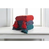 India Tassel Throw Blanket - Multiple Colors Available