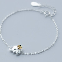 Cute little elephant 925 Sterling Silver bracelet, a perfect gift