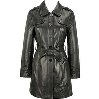 Women's Elegant Leather Trench Coat