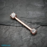Rose Gold Double Prong Gem Nipple Barbell Ring