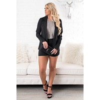 Dana Striped Blazer And Shorts Set (Black)