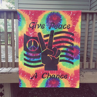 Give Peace A Chance Wall Tapestry Bedspread - peace wall tapestry, bohemian decor, boho peace tapestry, hippie wall tapestry