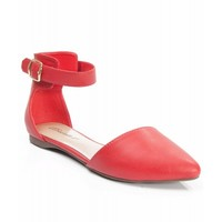 Breckelle Diane-22 Leatherette D'Orsay Ankle Strap Flat RED