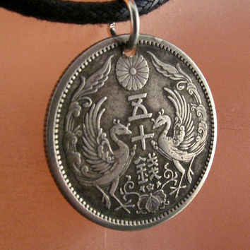 ANTIQUE japan COIN NECKLACE jewelry . pendant. silver . bird phoenix japanese. chrysanthemum silver. 50 sen . asian. mens No.001126