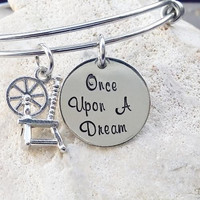 Bangle - Bracelet - Disney - Jewelry - Disney Jewelry - Hand Stamped - Stamped Jewerly - Once Upon a Dream - Gift - Gfit for Her - Quote