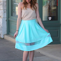 The Golightly Pleated Skirt {Ice Blue}