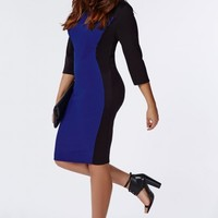 Missguided - Plus Size Illusion Panel Midi Dress Cobalt Blue