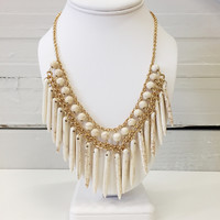 Cream stone spindle necklace